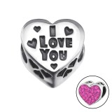 Heart I Love You - 925 Sterling Silver Beads with CZ/Crystal SD9936