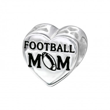 Heart Football Mom - 925 Sterling Silver Simple Beads SD10308