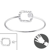 Rectangle - 925 Sterling Silver Bangles SD22962