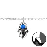 Hamsa - 925 Sterling Silver Silver Anklets SD29966