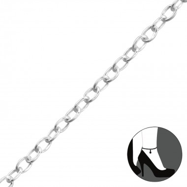 Silver Anklet 27cm Cable Ch...