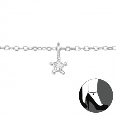 Star - 925 Sterling Silver Silver Anklets SD39583