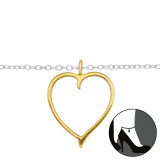 Heart - 925 Sterling Silver Silver Anklets SD42815