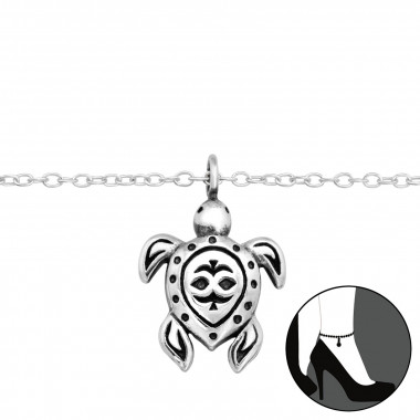 Turtle - 925 Sterling Silver Silver Anklets SD42819