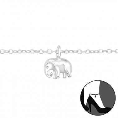 Elephant - 925 Sterling Silver Silver Anklets SD42820