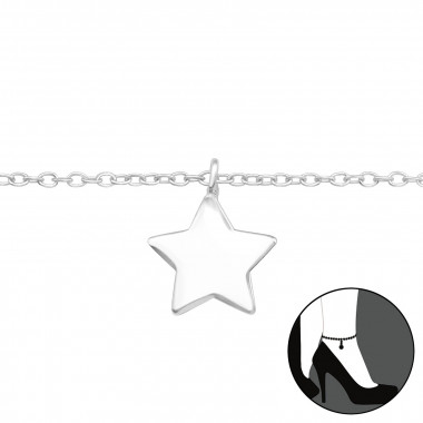 Star - 925 Sterling Silver Silver Anklets SD42822