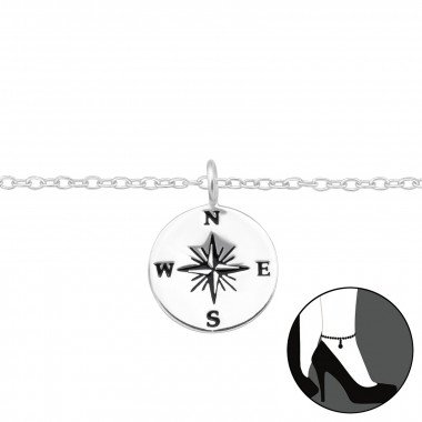 Compass - 925 Sterling Silver Silver Anklets SD42824
