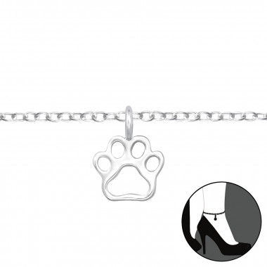 Paw Print - 925 Sterling Silver Silver Anklets SD42828