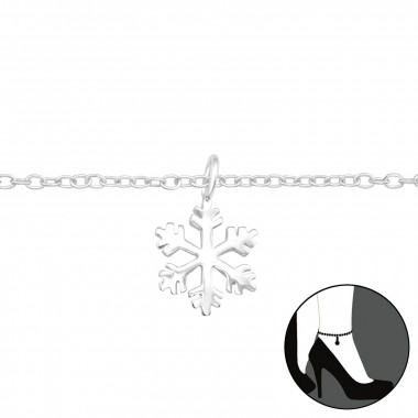 Snowflake - 925 Sterling Silver Silver Anklets SD42858