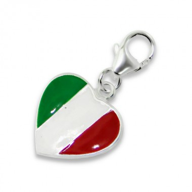 Italy Flag - 925 Sterling Silver Clasp Charms SD10280