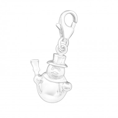 Snowman - 925 Sterling Silver Clasp Charms SD898
