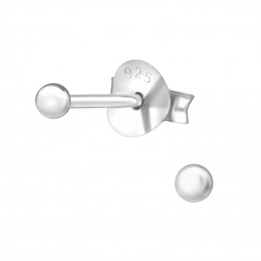 Ball - 925 Sterling Silver Basic Stud Earrings SD2399