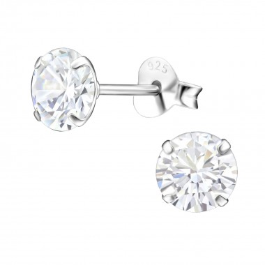 Round 6mm - 925 Sterling Silver Basic Stud Earrings SD33206