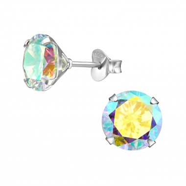 Round 8mm - 925 Sterling Silver Basic Stud Earrings SD39741