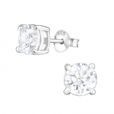 Round - 925 Sterling Silver Basic Stud Earrings SD999