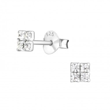 Square - 925 Sterling Silver Stud Earrings with Crystals SD10132