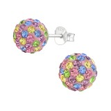 Ball - 925 Sterling Silver Stud Earrings with Crystals SD12580