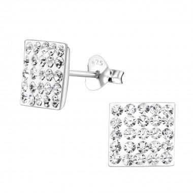 Square - 925 Sterling Silver Stud Earrings with Crystals SD183