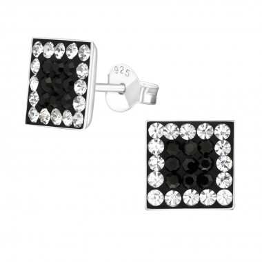 Square - 925 Sterling Silver Stud Earrings with Crystals SD184