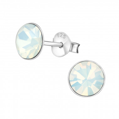 Round - 925 Sterling Silver Stud Earrings with Crystals SD1987