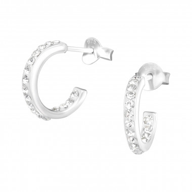 Semicircle hoops - 925 Sterling Silver Stud Earrings with Crystals SD2326