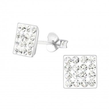 Square - 925 Sterling Silver Stud Earrings with Crystals SD2377