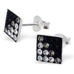 Square - 925 Sterling Silver Stud Earrings with Crystals SD2380