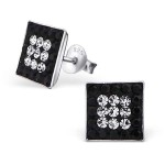 Square - 925 Sterling Silver Stud Earrings with Crystals SD2438