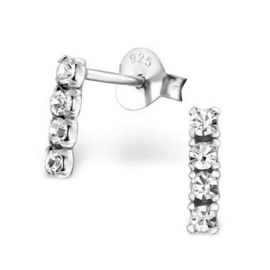Bar - 925 Sterling Silver Stud Earrings with Crystals SD26519
