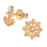 Anchor And Wheel - 925 Sterling Silver Stud Earrings with Crystals SD30236