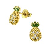 Pineapple - 925 Sterling Silver Stud Earrings with Crystals SD30241