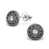 Antique Round - 925 Sterling Silver Stud Earrings with Crystals SD31069