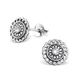 Bali Round - 925 Sterling Silver Stud Earrings with Crystals SD31070