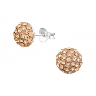Round - 925 Sterling Silver Stud Earrings with Crystals SD36471
