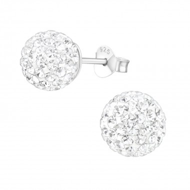 Round - 925 Sterling Silver Stud Earrings with Crystals SD3749