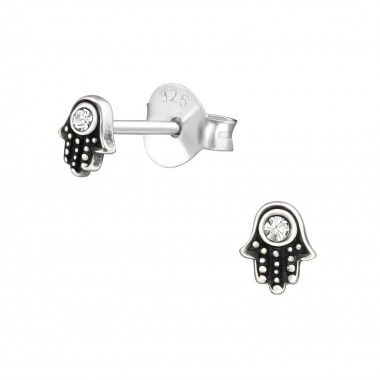 Hamsa - 925 Sterling Silver Stud Earrings with Crystals SD38465