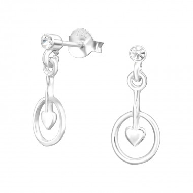 Silver Ear Studs With Hanging Heart And Crystal - 925 Sterling Silver Stud Earrings with Crystals SD38486