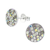 Round - 925 Sterling Silver Stud Earrings with Crystals SD39191