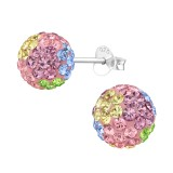 Ball - 925 Sterling Silver Stud Earrings with Crystals SD39271
