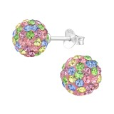Ball - 925 Sterling Silver Stud Earrings with Crystals SD39272