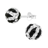 Ball - 925 Sterling Silver Stud Earrings with Crystals SD39273