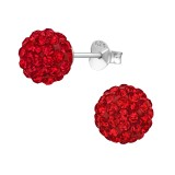 Ball - 925 Sterling Silver Stud Earrings with Crystals SD39279