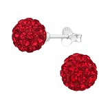 Ball - 925 Sterling Silver Stud Earrings with Crystals SD39281