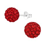Ball - 925 Sterling Silver Stud Earrings with Crystals SD39283