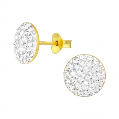 Round - 925 Sterling Silver Stud Earrings with Crystals SD39315