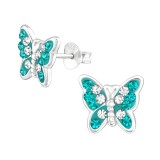 Butterfly - 925 Sterling Silver Stud Earrings with Crystals SD39390