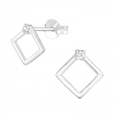 Square - 925 Sterling Silver Stud Earrings with Crystals SD39576