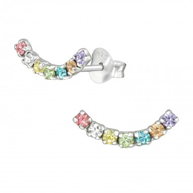 Curve - 925 Sterling Silver Stud Earrings with Crystals SD39581