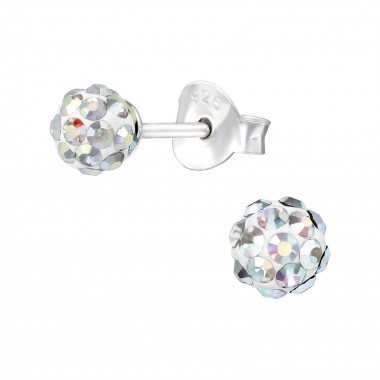Ball - 925 Sterling Silver Stud Earrings with Crystals SD39772