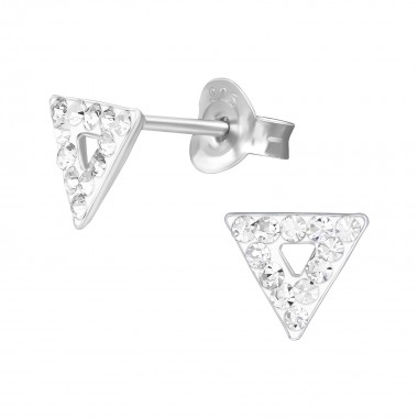Triangle - 925 Sterling Silver Stud Earrings with Crystals SD39879